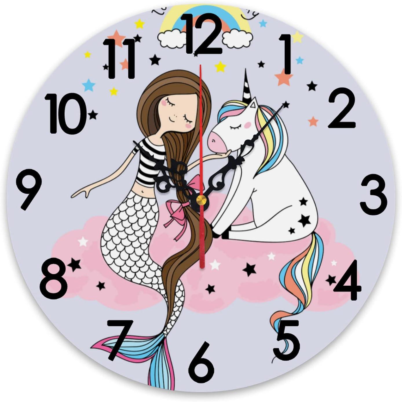 ZXZNC Wall Clock Large Cute Max 46% OFF Cartoon Unicorn Cloud Mermaid Arlington Mall R Pink