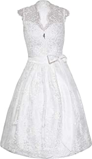 MarJo Dirndl Eudora 65er Länge weiß   Hochzeits-Dirndl & Hochzeitskleid aus Spitze   Rückenfrei & V-Ausschnitt   Standesamt   Hochwertige Qualität