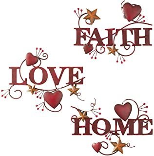 Collections Etc Red Home, Love and Faith Metal Wall Art – Set of 3