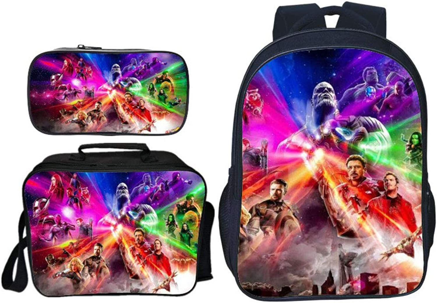 Gucili Student Backpack,3D Avengers Pattern Schoolbag Backpack + Lunch Box + Pencil Case 3 in 1 Set 16 inch Laptop Backpack