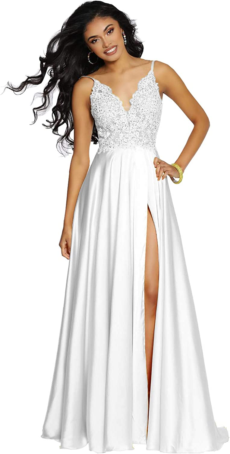 Women's Industry No. 1 V-Neck Spaghetti Strap Cash special price Lace Prom Dress Long A- Slit with