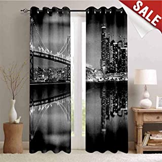 Hengshu Black and White Room Darkening Wide Curtains San Francisco Bay Bridge Metropolis Panorama View with Skyscrapers Waterproof Window Curtain W72 x L96 Inch Black Grey White