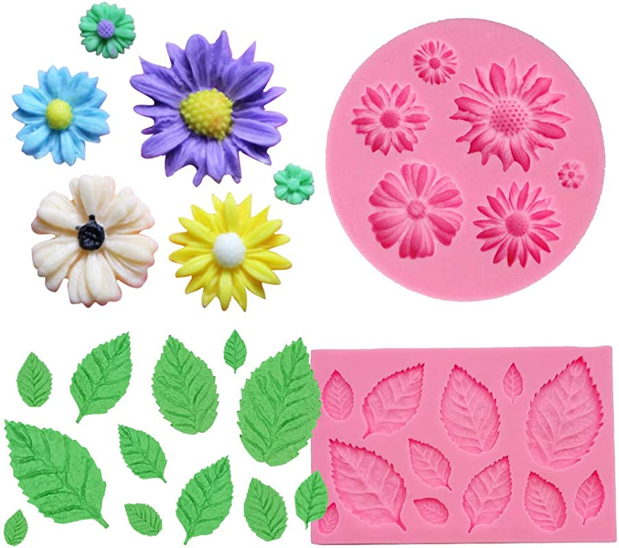 BAKHUK 2pcs Flower Fondant Candy Mold Daisy And Leaves Collection Silicone Fondant Mold For Chocolate Sugercraft Cake Decoration Kit Polymer Clay Soap Wax Making Craft Set
