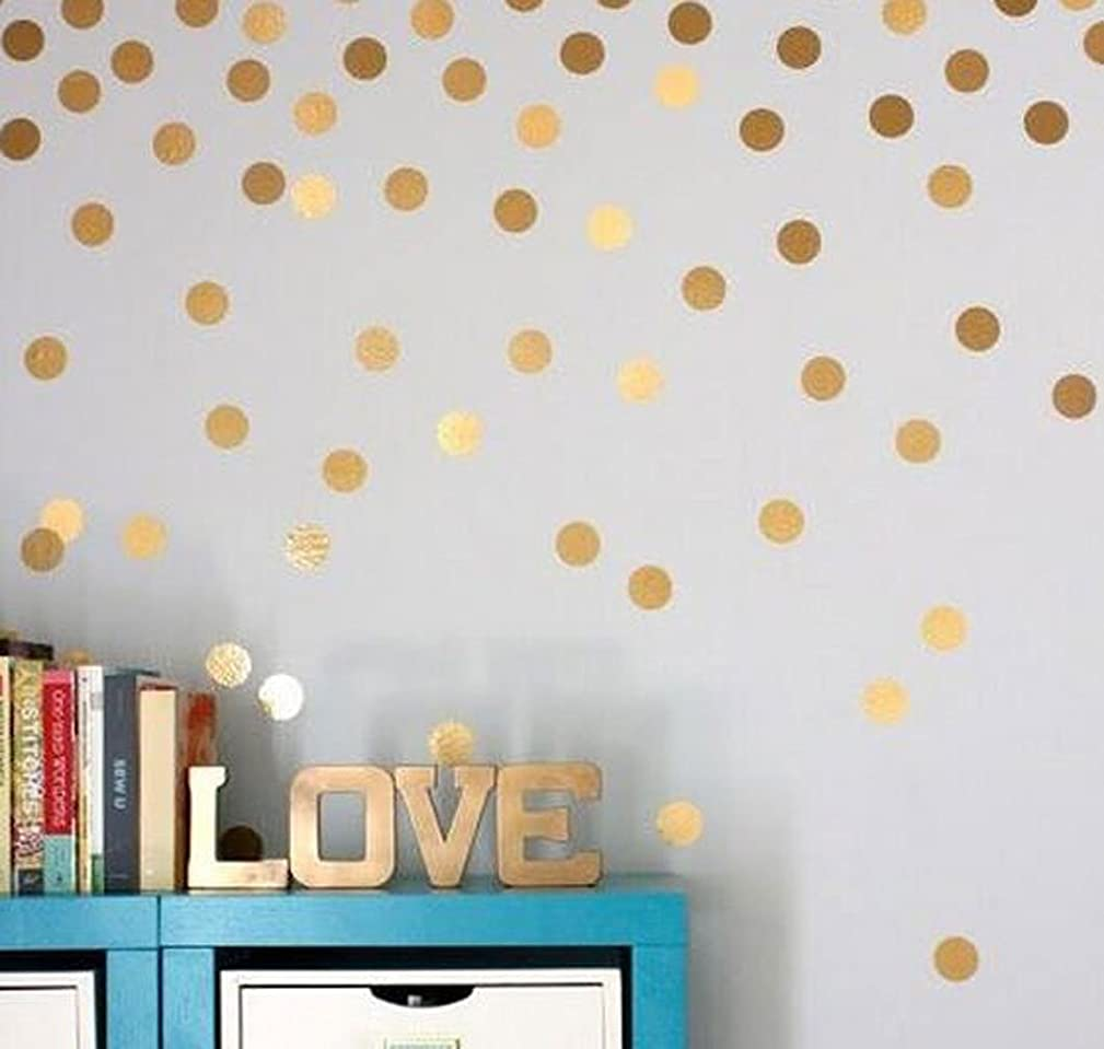 OUUD Gold Polka Dots Wall Stickers Vinyl Circle Decals for Children Kids Room Decor (54 PCS, 1.5 Inches)