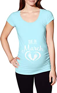 Due in March - Date Pregnant Expecting Side Ruched Maternity T-Shirt