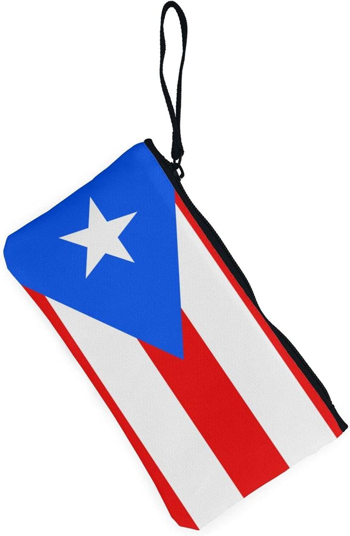 AORRUAM Puerto Rico Flag Canvas Coin Purse,Canvas Zipper Pencil Cases,Canvas Change Purse Pouch Mini Wallet Coin Bag