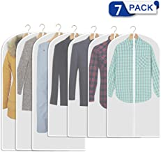 Aufisi Garment Bags Suit Bags,Pack of 7 Premium Quality PEVA Moth Proof Clothes Covers Dustproof Clear Garment Cover Breathable Full Zipper Dust Cover, 4 Pcs 40