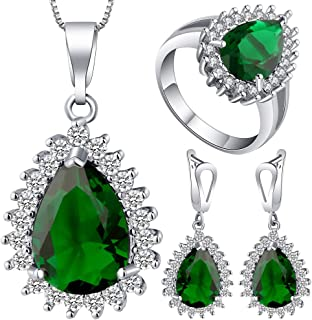 VPbao Plated 925 Sterling Silver CZ Drop Necklace Earrings Ring Jewellery Sets Green