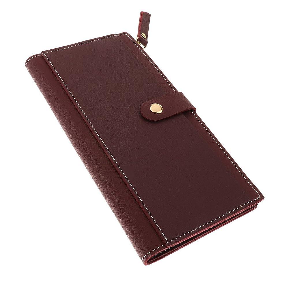 ダニシャーロットブロンテ検索SONONIA PUレザー  女性  ジッパー  三つ折り  長財布  レディース  クラッチ  ウォレット  カードホルダー  柔らかい  全5色 - ワインレッド