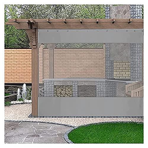 GZHENH Cortina Al Aire Libre, Cortinas De Balcón De Gazebos Transparente Impermeable con Ojal por Pérgola, Porche, Gazebo, Cabaña, Personalizable (Color : Clear+Grey, Size : 3x2m)