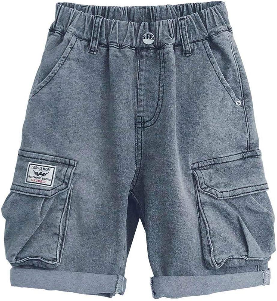 CosSky Boys Denim Shorts Adjustable Waist Multi Pockets Outdoor Cargo Shorts