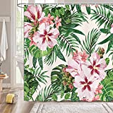 BYCOCBY Tropical Plant Shower Curtains Green Palm Leaf Pink Floral Fabric Bathroom Curtain Set with Hooks Watercolor Botanical Banana Palm Tree Leaves Bath Curtains Hunter Green White 69X70IN