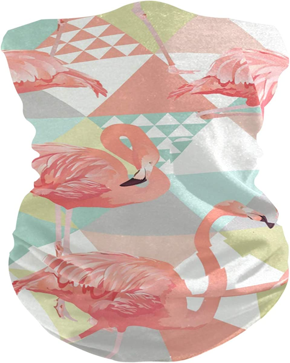 Face Mask Bandana for Women Men, Flamingo Pattern Neck Gaiter Balaclava Face Cover Sun Dust Mask Magic Scarf Headwear
