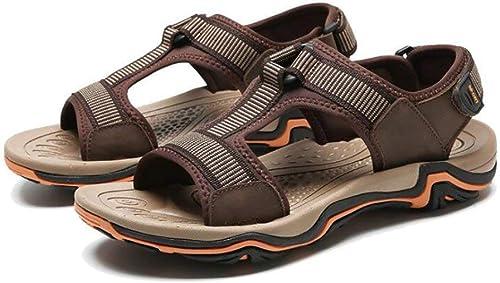 Fuxitoggo Sandales en Cuir pour Hommes Chaussures de randonnée en en en Plein air, Chaussures de Sport d'été (Couleuré   B, Taille   38) 024