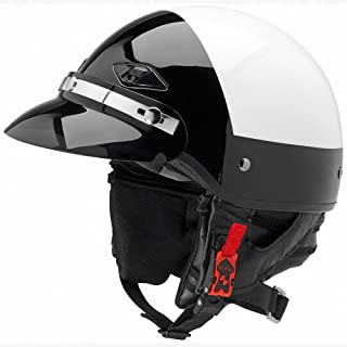 Official Police Motorcycle Helmet w/Smoked Snap-On Visor (Black/White, Size Large)