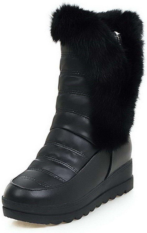 WeenFashion Women's Zipper Kitten-Heels PU Solid Low-top Boots