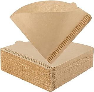 YQL Lot de 200 filtres à café jetables non blanchis - Taille 1 pour machine à café V60 - Cônes compte-gouttes (1 à 2 tasses)