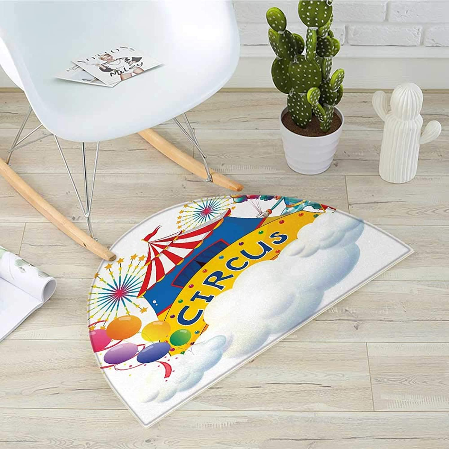 Circus Decor Semicircle Doormat Illustration of a Circus Above The Clouds Fireworks Entertainer Comedian Halfmoon doormats H 35.4  xD 53.1  Multicolor