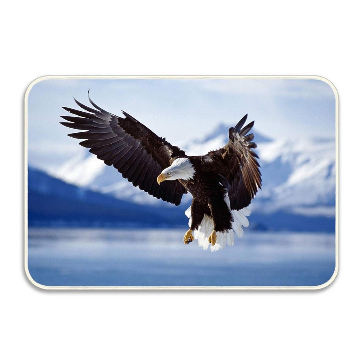 二年生舗装脅迫3Dプリント染め バスルームカーペット ドアマット ト シャワーマット 吸収性キッチンドアカーペット アラスカの白頭Eagle