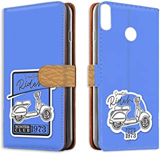 スマホケース 手帳型 カードタイプ HUAWEI P20 lite HWV32・ANE-LX2J 対応 スクーター・ブルー系 ビンテージ ステッカー風 バイク ファーウェイ ピートゥエンティライト ワイモバイル SIMフリー 携帯ケース けーた...