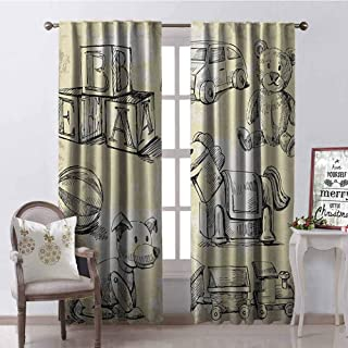 Gloria Johnson Vintage 99% Blackout Curtains Illustration of Kids Old Toys on Grunge Setting Teddy Bear Train Ball Childhood for Bedroom- Kindergarten- Living Room W52 x L95 Inch Beige Black