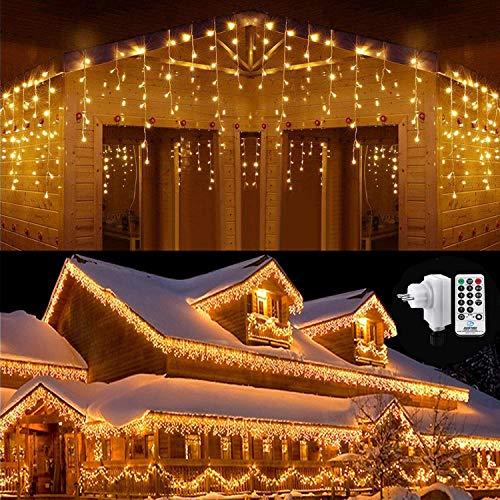Qedertek 432 LED Lichterkette Eisregen Außen, 10.8M Weihnachtsbeleuchtung Lichtervorhang mit Steckdose, 8 Modi und 3 Timer Funktion und Dimmbar mit Fernbedienung, Deko Hochzeiten, Garten(Warmweiß)