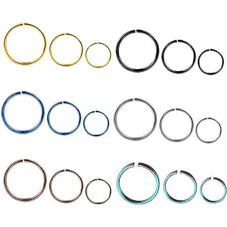 Liuxn 18 Pezzi 20 Gauge Anello in Acciaio Inossidabile Naso Orecchino Cerchi per Piercing del Corpo, 6 Colori, 3 Dimensioni