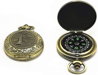 羅針盤 コンパス 懐中時計式 真鍮 軽量 リング付き コンパクト 軽量 持ち運び便利 アウトドア/防災/登山/ハイキング用 古い真鍮 コンパス 方位指示器 方位磁针 収蔵品 復古