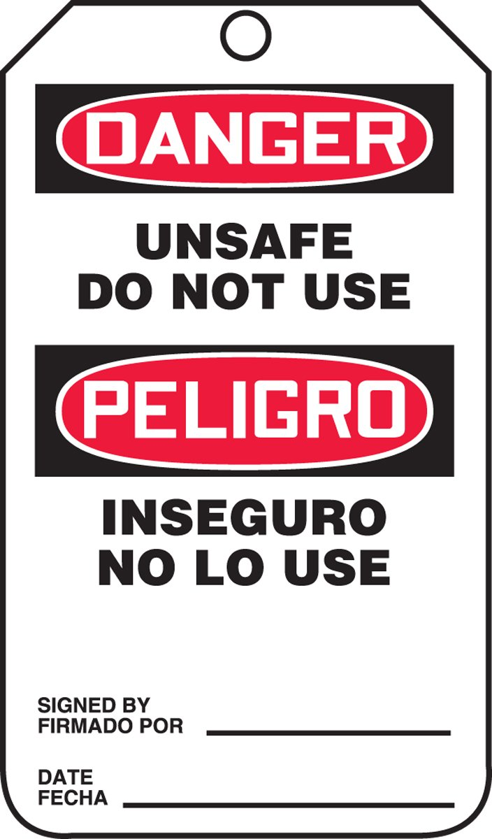Challenge online shop the lowest price Accuform TSP164CTM PF-Cardstock Bilingual Safety Le Spanish Tag