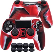 PS4 Controller Skin, MCHEETA Anti-Slip Silicone Cover Protector Case for PS4/SLIM/PRO Controller, Controller x 1 with Thumb Grips x 8 (Camouflage Red)