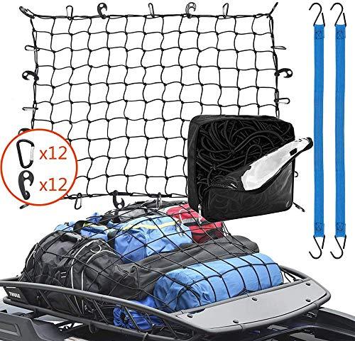 Universale Rete bagagliaio auto, Rete da carico per bagagliaio di auto tetto Portabagagli di rete elastica con 24 ganci (120 * 90cm), Storage Organizer Reti in reteper Car Van, SUV, Camion, ecc (Nero)