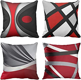 Emvency Set of 4 Throw Pillow Covers Modern Abstract Red Stripes Gray Black White Acrylic..