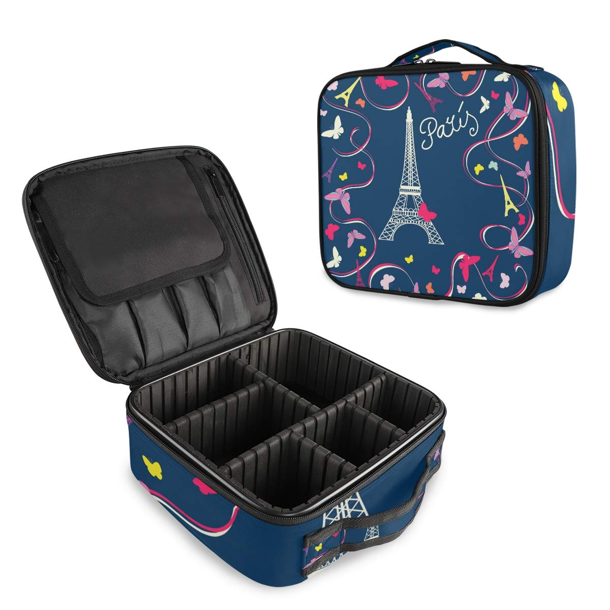 ALAZA Ranking TOP18 Paris Eiffel Tower Butterfly Case Over item handling ☆ Makeup Cosmetic Floral O