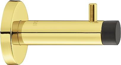 Design wand-deurbuffer roestvrij staal PVD gepolijst deurstopper met kapstokhaak - H8055 | diepte: 90 mm | rubberen buffer...