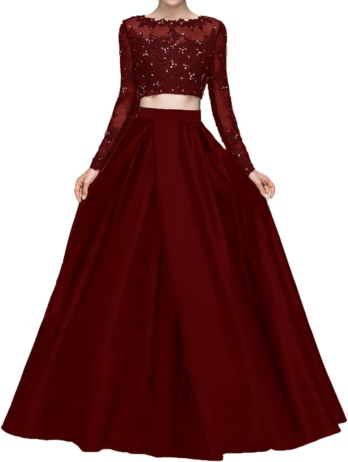 Bonnie Beaded Lace Bodice Two Piece Prom Dresses 2018 Long Sleeves Evening Party Ball Gowns BS001