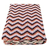 Vezavena | Manta de Estilo Crochet en Zig Zag Multi Color y Acabados en Ondas para Sofás o Camas | Elaborada con Algodón Ecológico Reciclado | Textil de Hogar para Salón o Habitación - 120x170 cm