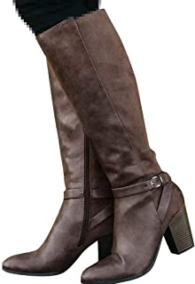 Padaleks Retro Womens Long Boots High Heel Wedge Platform Boots Over Knee Square Heel Shoes Long Tube Combat Boots