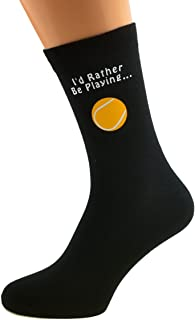 I'd Rather be Playing Tennis with Tennis Ball Image Design Mens Black Cotton Rich Socks