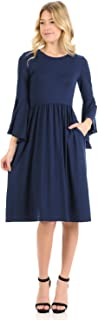 iconic luxe Women's Fit and Flare Dress with Dramatic Bell Sleeve