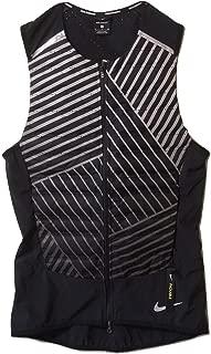 NIKE Men's Aeroloft Flash Black Full-Zip Sleeveless Running Vest