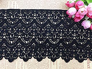Black Lace Trim Trimming Edging 140 mm 14 cm 5 Inch Width Sold Per Metre