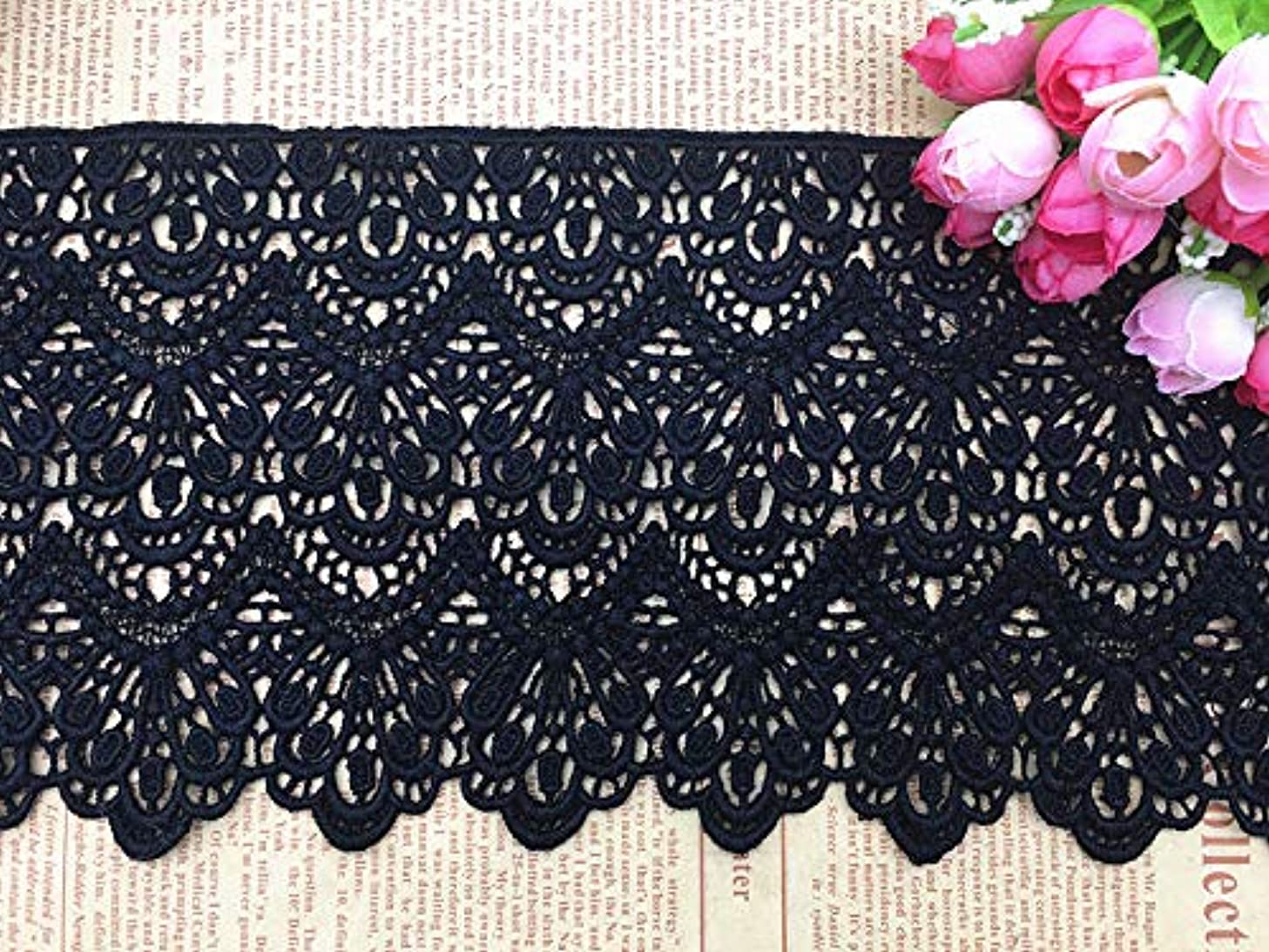 14CM Width Europe Long Pattern Inelastic Embroidery Lace Trim,Curtain Tablecloth Slipcover Bridal DIY Clothing/Accessories.(2 Yards in one Package) (Black)