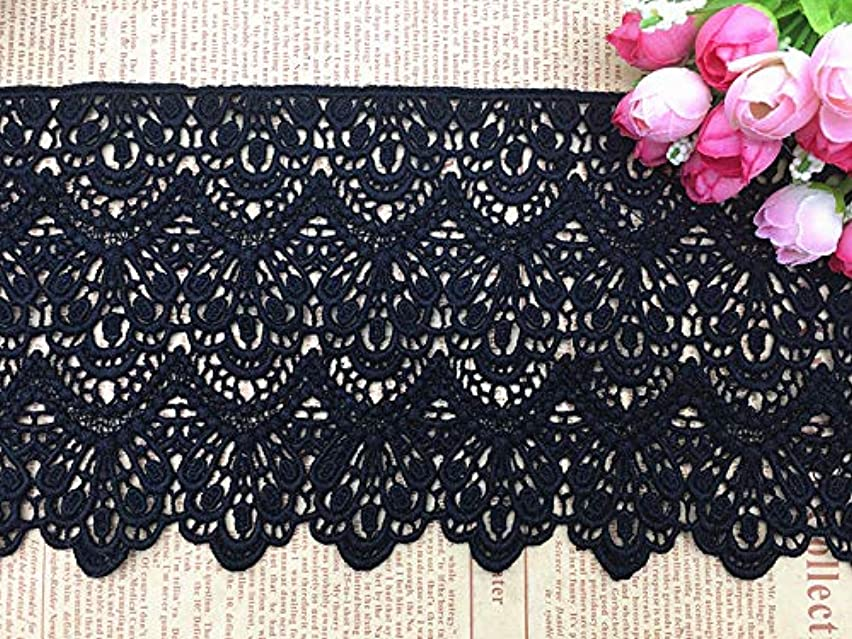 14CM Width Europe Long Pattern Inelastic Embroidery Lace Trim,Curtain Tablecloth Slipcover Bridal DIY Clothing/Accessories.(4 Yards in one Package) (Black)