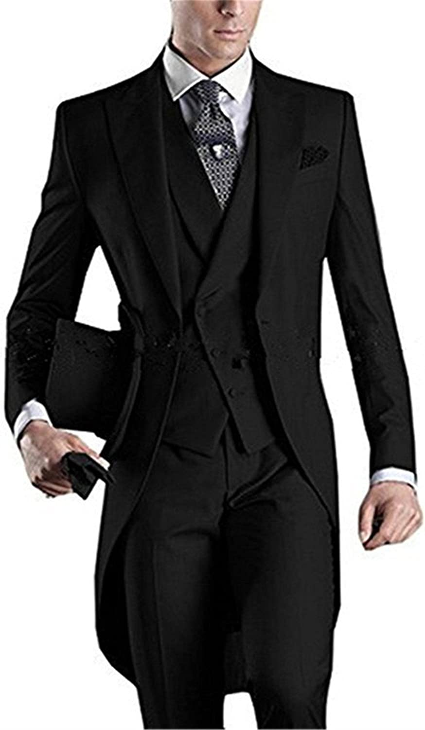 Onlylover Men's Luxury Tailcoat Formal Slim Fit 3 Piece Suit Dinner Jacket Swallow-Tailed Coat