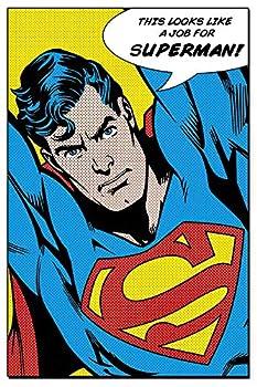 POSTER STOP ONLINE Superman - Framed Comic Poster/Print  Pop-Art - This Looks Like A Job for Superman!   Size  24  x 36     Unframed Unframed