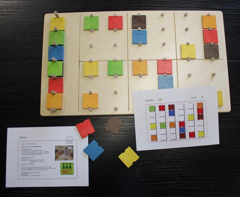 Denkspiel Sudoku   Farbenpuzzle   Material  Holz   Mae  27,5x48 cm   mit Anleitung und 20 Rtselkarten   Made in Germany   5+