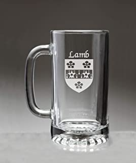 Lamb Irish Coat of Arms Glass Beer Mug (Sand Etched)