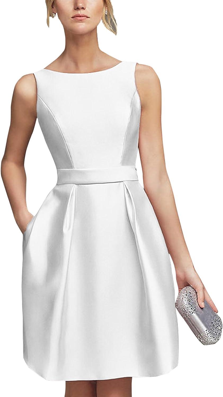 SecretCastle Women's Short Bridesmaid Party dress with Plunging Back