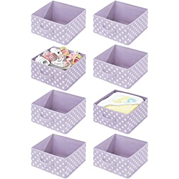 Boite en Tissu synth/étique mDesign Panier de Rangement pour la Chambre denfant Lot de 4 Rose//Blanc Corbeille de Rangement pour Jouets avec poign/ée et Ouverture sur Le Dessus
