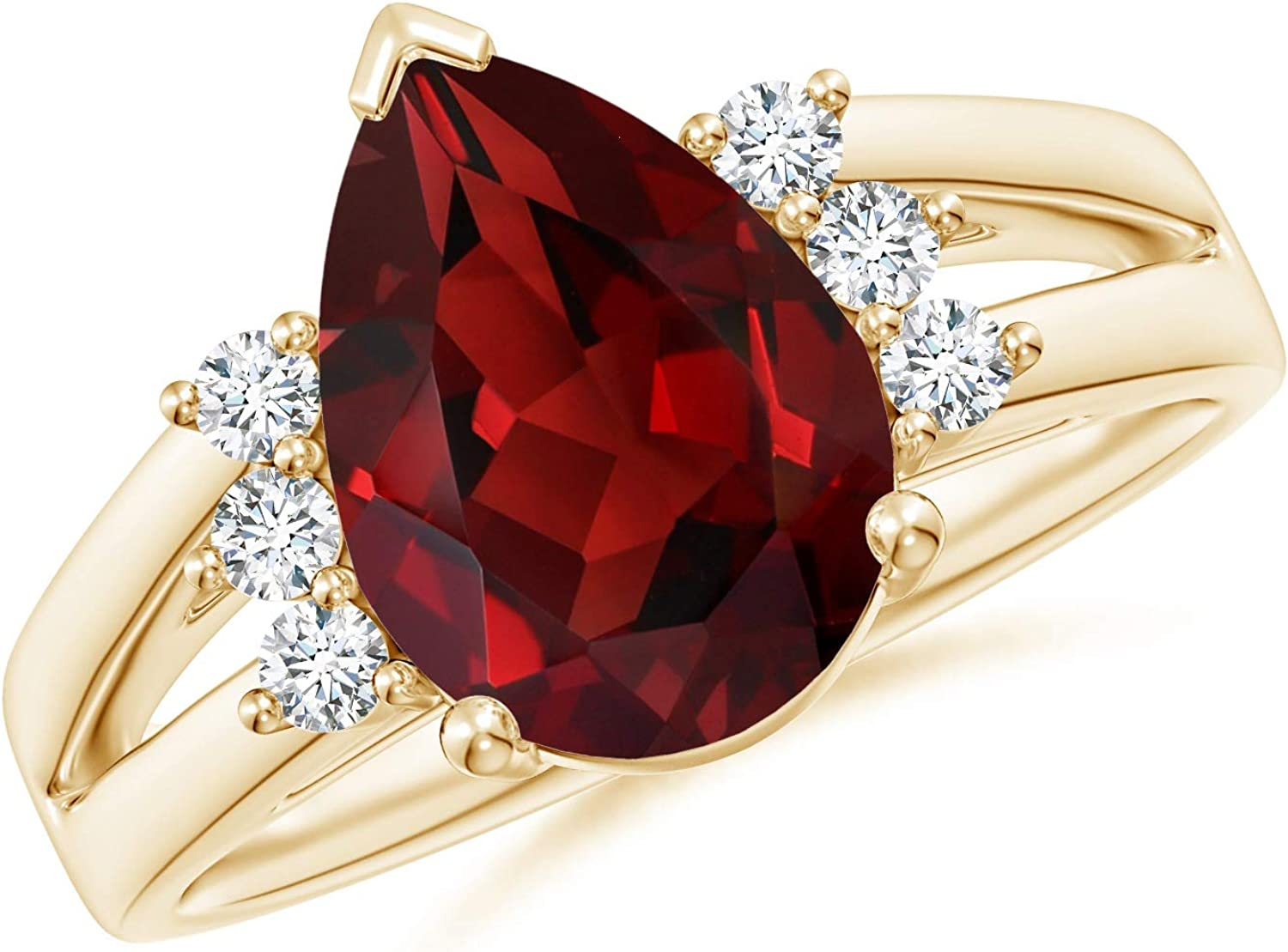 Natural Pear Garnet Ring with Accents Diamond Sales results No. 1 Gar Triple Ranking integrated 1st place 12x8mm